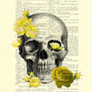 Skull With Yellow Roses Dictionary Art Print Poster