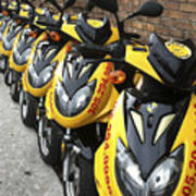 Yellow Scooters Poster