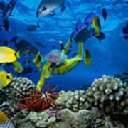 Yellow Scuba Diver Poster