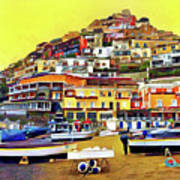 Yellow Sky In Positano Poster