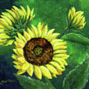 Yellow Sunflowers On Green Poster