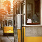 Yellow Trams Of Lisbon Portugal  Poster