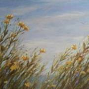 Yellow Wildflowers In The Sea Breeze Poster