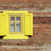 Yellow Window On Wooden Hut Wall Poster