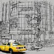 Yelow Cab On New York Streets Poster