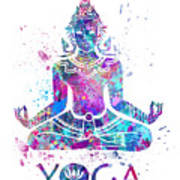 Yoga Meditation Watercolor Print Poster