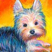 Yorkie Puppy Painting Print Poster
