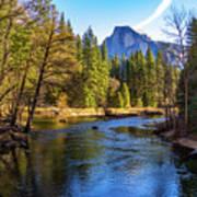 Yosemite Merced River With Half Dome Poster