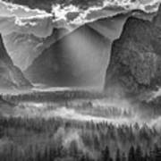 Yosemite Morning Sun Rays Poster