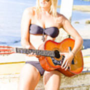 Young Attractive Blonde Woman Playing Guitar Poster