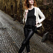 Young Attractive Woman Standing In The Wet Cobblestone Reber All Poster
