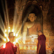 Young Buddhist Monk Are Reading With Sun Light Poster