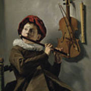 Young Flute Player , Judith Leyster, 1630 Poster