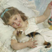 Young Girl And Cat Poster