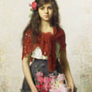 Young Girl With Blossoms Poster