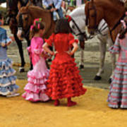 Young Girls In Flamenco Dresses Looking At Horses At The April F Poster