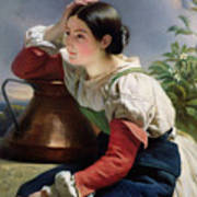 Young Italian At The Well Poster by Franz Xaver Winterhalter