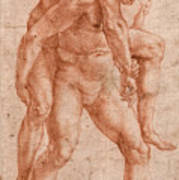 Young Man Carrying An Old Man On His Back Poster