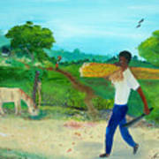 Young Man Carrying Sugarcane Poster