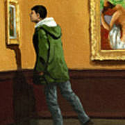 Young Man Viewing Art - Painting Poster