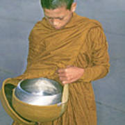 Young Monk Begging Alms And Rice, Thailand Poster