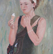 Young Woman And Ice-cream Poster