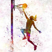 Young Woman Basketball Player 04 In Watercolor Poster