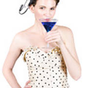 Young Woman Drinking Alcoholic Beverage Poster