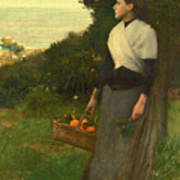 Young Woman In A Garden Of Oranges Poster