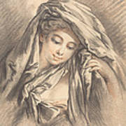 Young Woman With Her Head Covered Poster