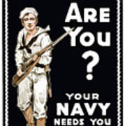 Your Navy Needs You This Minute Poster by War Is Hell Store