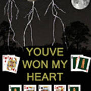 Youve Won My Heart  Poker Cards Poster