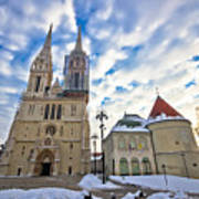 Zagreb Cathedral Winter Daytime View Poster
