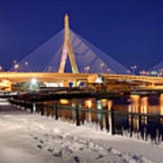 Zakim Bridge In Winter Poster