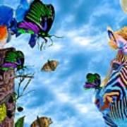 Zebras Birds And Butterflies Good Morning My Friends Poster