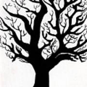 Zen Sumi Tree Of Life Enhanced Black Ink On Canvas By Ricardos Poster