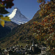 Zermatt Village With The Matterhorn Poster by Thomas J. Abercrombie