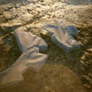 Zinc Sculptures On The Beach At Sunset Poster