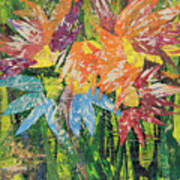 Zinnias Gone Mad Poster