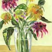 Zinnias In Vase Poster