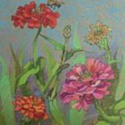 Zinnias With Bee Poster