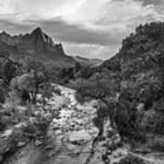 Zion National Park In Black And White  Poster