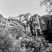 Zion National Park Utah Black White  Poster