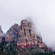 Zion Red Rock And Clouds Poster