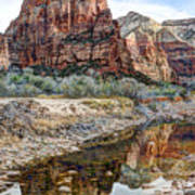 Zions National Park Angels Landing - Digital Painting Poster