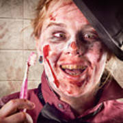 Zombie At Dentist Holding Toothbrush. Tooth Decay Poster