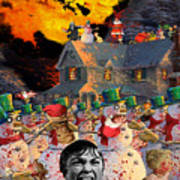 Zombie Snowmen Christmas Poster by Barry Kite