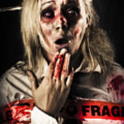 Zombie Woman Expressing Fear And Shock When Waking Poster