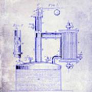 1878 Beer Boiler Patent Blueprint Poster