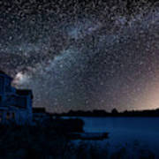 Beautiful Night Sky Astrophotography Landscape Image Of Milky Wa Poster